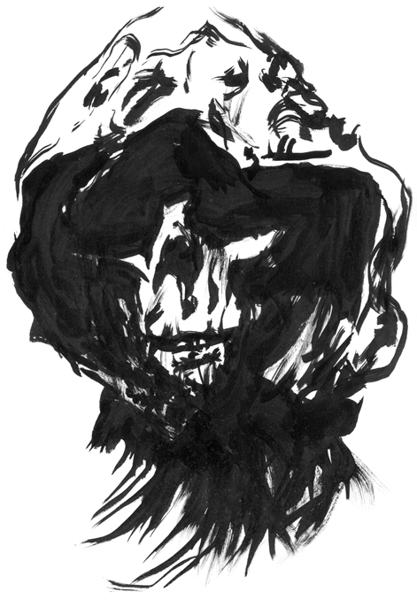 Hooded Skull drawing and illustration by Chris O'Neal