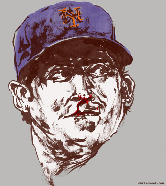 """matt harvey's bloody nose"" illustration by Chris O'Neal"