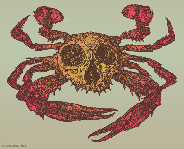 Red Crabskull drawing by Chris O'Neal Red Crabskull drawing by Chris O'Neal