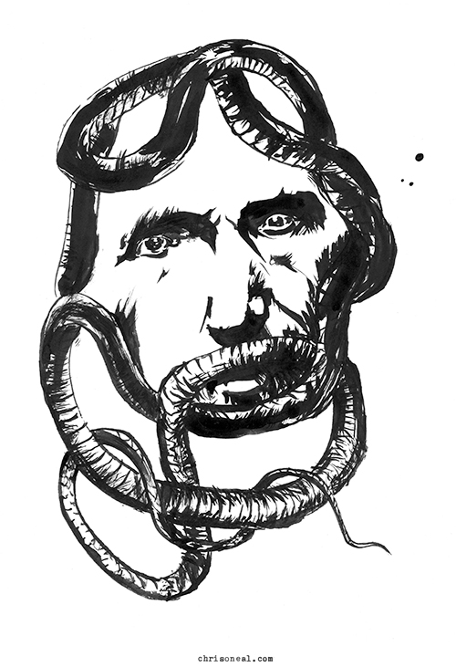 snakeface drawing by Chris O'Neal