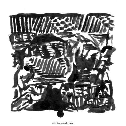 """L.I.E.S. Presents: American Noise"" drawing by Chris O'Neal"