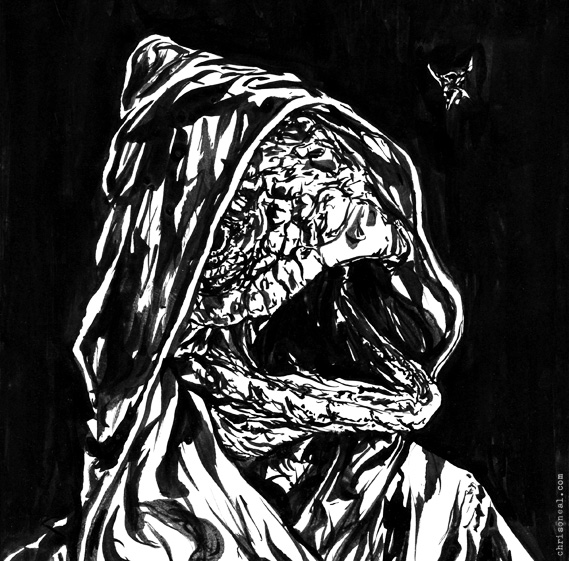 """lizard man"" drawing by Chris O'Neal"