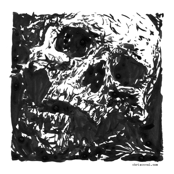 """square skull"" drawing by Chris O'Neal"