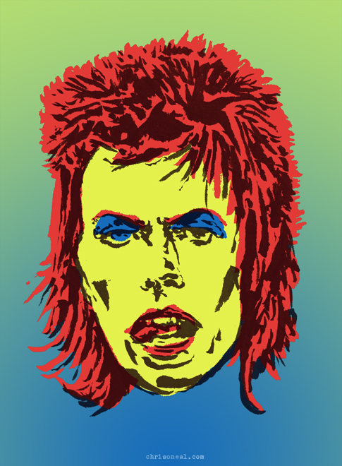 """David Bowie"" illustration by Chris O'Neal"