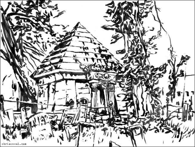 """""""Old Town Cemetery"""" drawing by Chris O'Neal"""