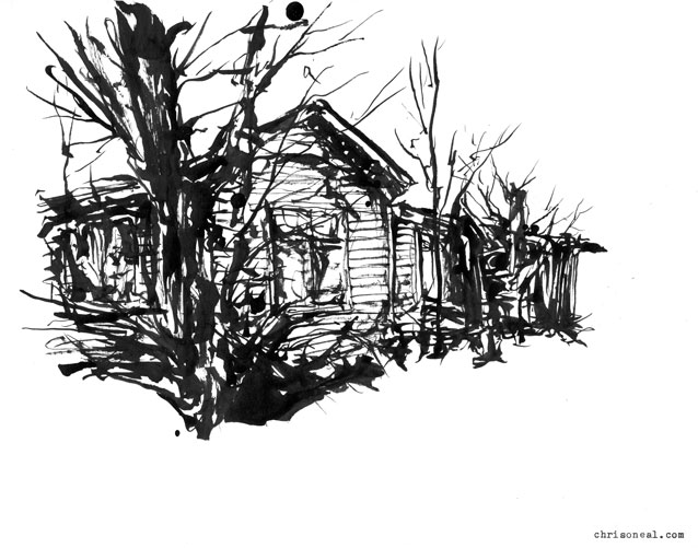"""Mt. Tremper Cabin"" drawing by Chris O'Neal"