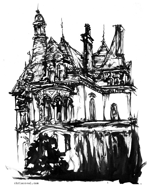 """Batcheller Mansion Inn"" drawing by Chris O'Neal"