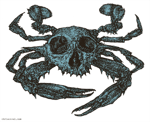 Blue Crabskull drawing by Chris O'Neal Red Crabskull drawing by Chris O'Neal