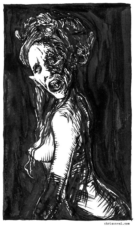 """dracula's maiden"" drawing by Chris O'Neal"