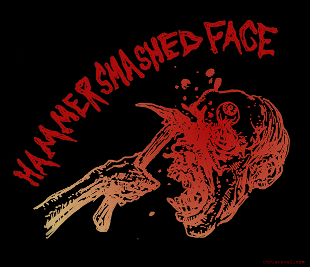 Hammer Smashed Face drawing by Chris O'Neal