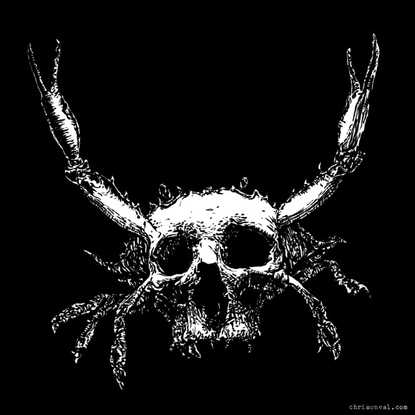 """skullcrab"" drawing by Chris O'Neal"