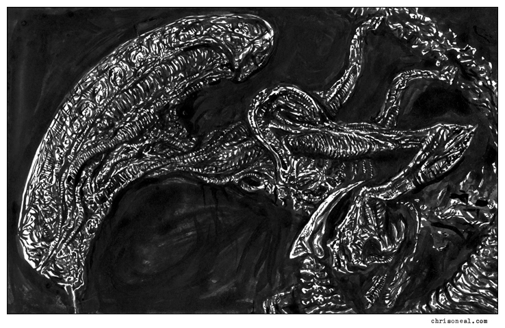 """Giger's Alien"" drawing by Chris O'Neal"