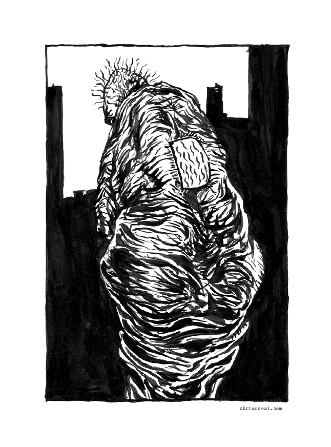 """""""back"""" drawing by Chris O'Neal"""