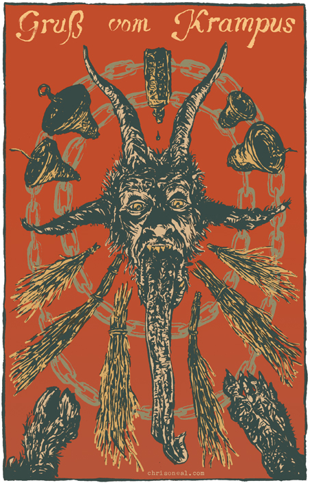 """gruß vom Krampus"" illustration by Chris O'Neal"