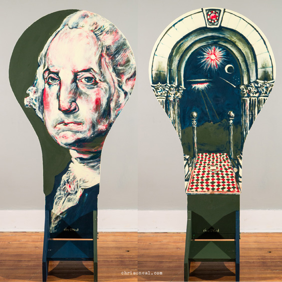 """George Washington lightbulb"" painting by Chris O'Ne"