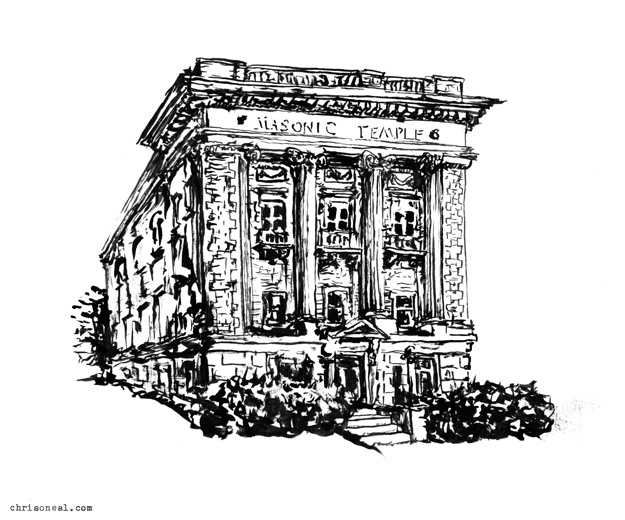 """Newburgh Masonic Temple"" drawing by Chris O'Neal"