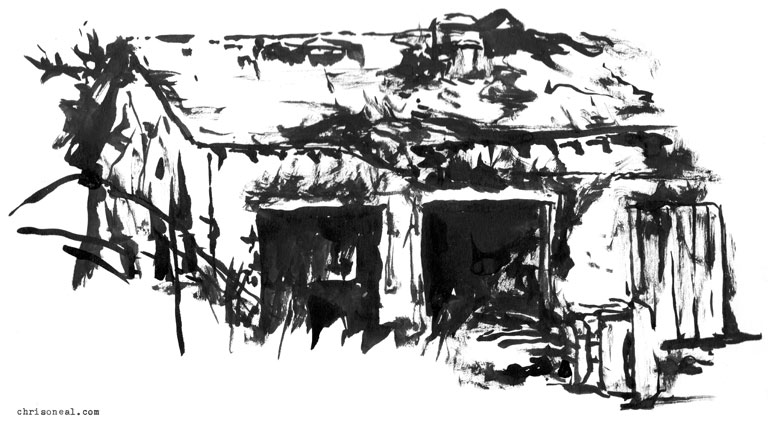 """camp laguardia garage"" drawing by Chris O'Neal"