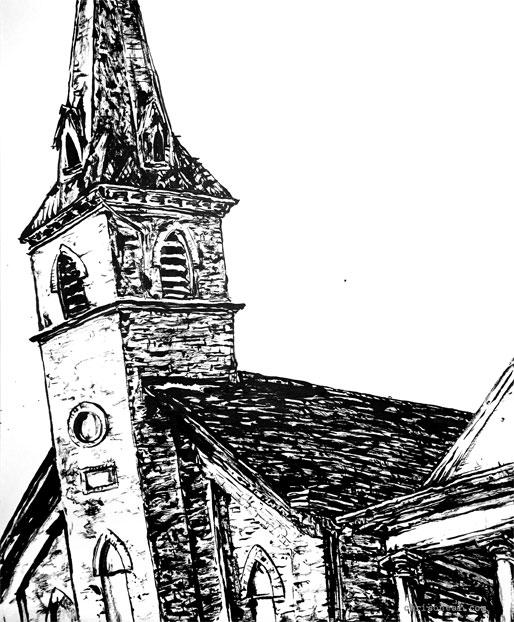 """Livingston Street Church"" drawing by Chris O'Neal"