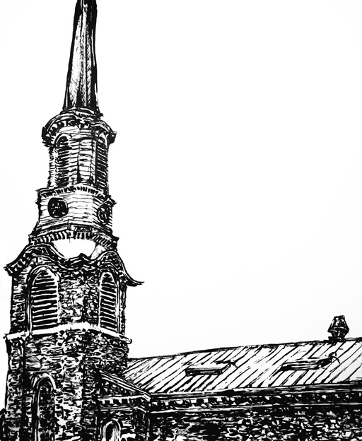 Old Dutch Church drawing by Chris O'Neal