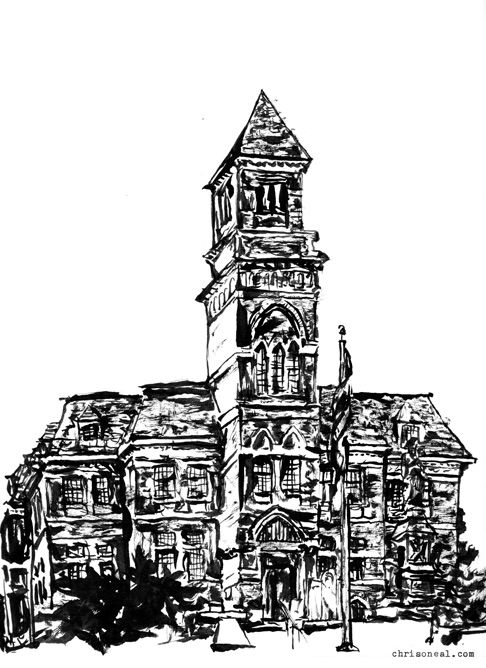 City Hall drawing by Chris O'Neal