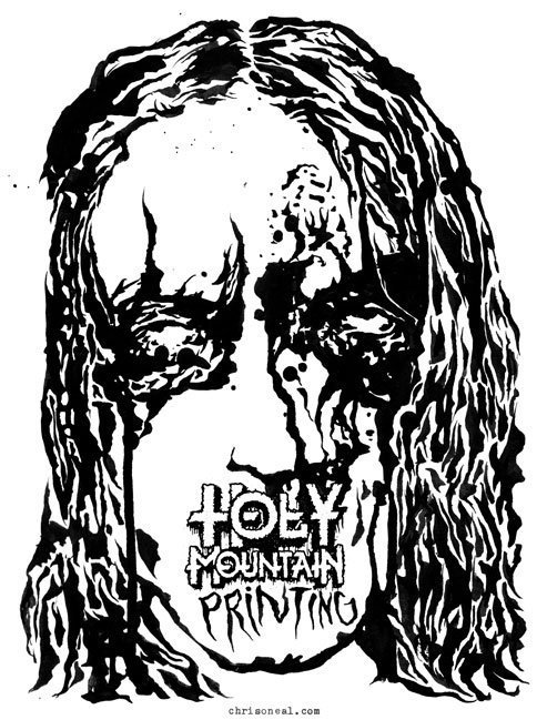 Holy Mountain printing illustration by Chris O'Neal