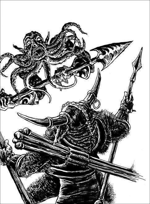 Bearded Devil vs Minotaur Barbarian illustration by Chris O'Neal