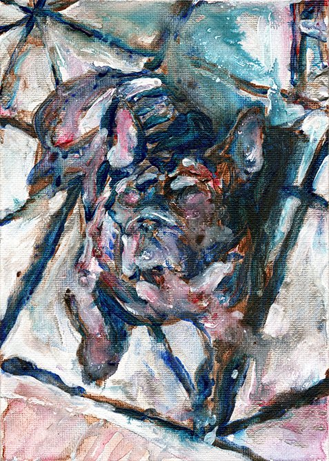 Hank a French Bulldog Painting by Chris O'Neal